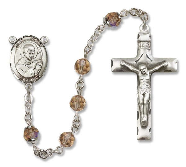 St. Robert Bellarmine Sterling Silver Heirloom Rosary Squared Crucifix - Topaz