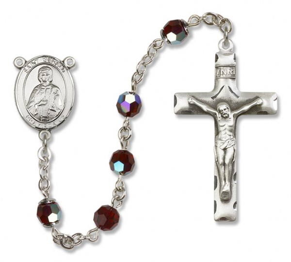 St. Gerard Sterling Silver Heirloom Rosary Squared Crucifix - Garnet