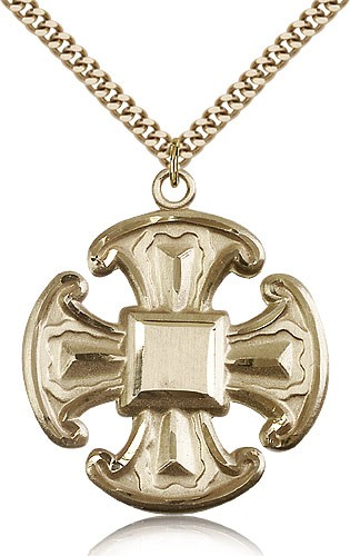 Large Canterbury Cross Pendant - 14KT Gold Filled