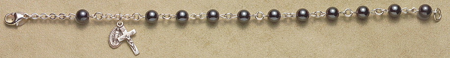 Rosary Bracelet - Sterling Silver with Hematite Beads - Gray