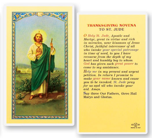 Thanksgiving Novena, St. Jude Laminated Prayer Cards 25 Pack - Full Color
