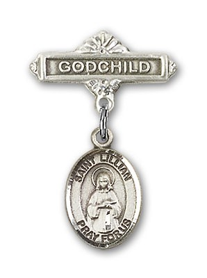 Pin Badge with St. Lillian Charm and Godchild Badge Pin - Silver tone
