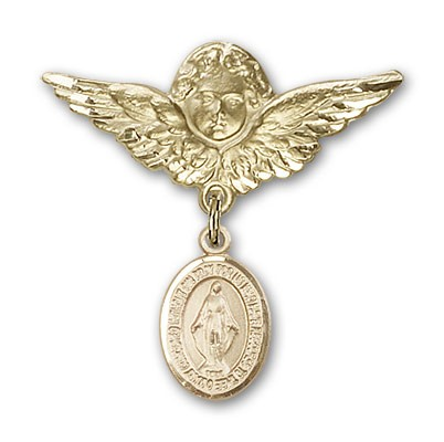 Pin Badge with Miraculous Charm and Angel with Larger Wings Badge Pin - 14K Yellow Gold