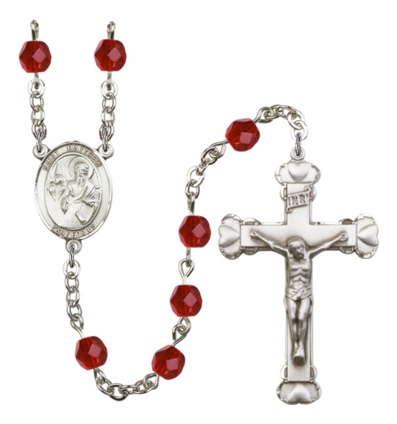 Women's St. Matthew the Apostle Birthstone Rosary - Ruby Red