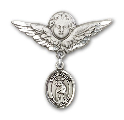 Pin Badge with St. Regina Charm and Angel with Larger Wings Badge Pin - Silver tone
