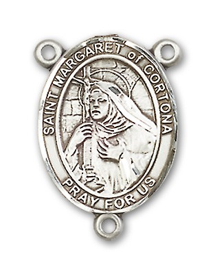 St. Margaret of Cortona Rosary Centerpiece Sterling Silver or Pewter - Sterling Silver