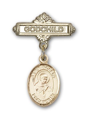 Pin Badge with St. Robert Bellarmine Charm and Godchild Badge Pin - Gold Tone