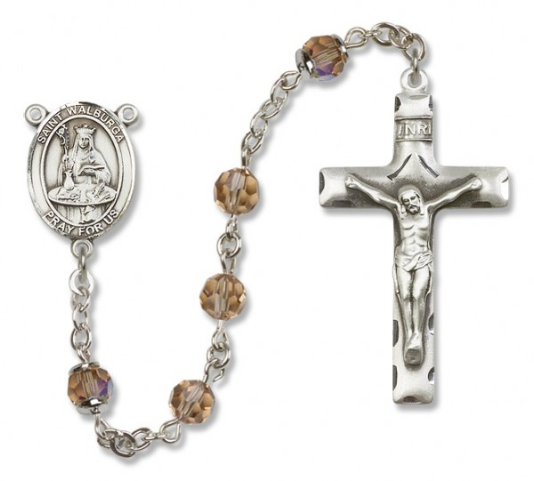 St. Walburga Sterling Silver Heirloom Rosary Squared Crucifix - Topaz