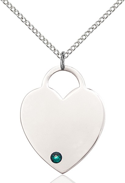 Large Women's Heart Pendant with Birthstone Options - Emerald Green