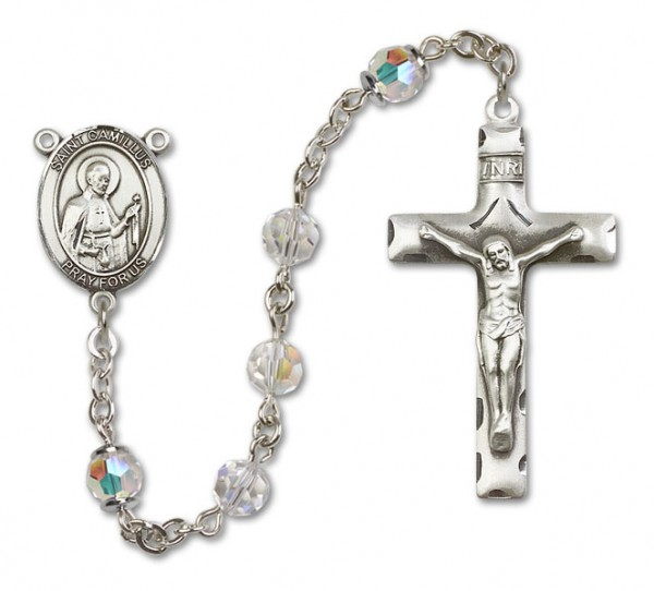 St. Camillus of Lellis Sterling Silver Heirloom Rosary Squared Crucifix - Crystal