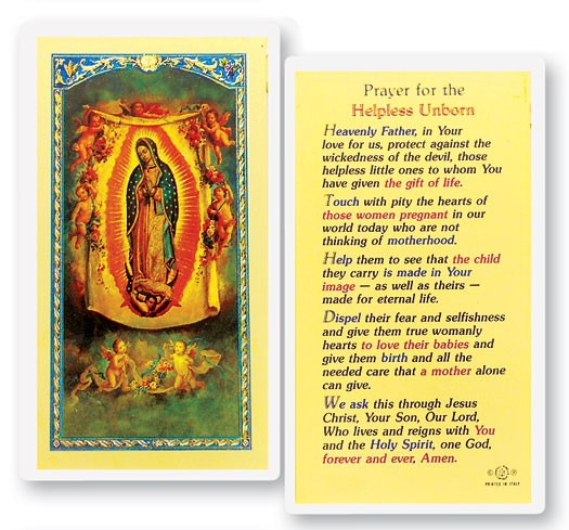 Prayer For The Helpless Unborn Laminated Prayer Cards 25 Pack - Full Color