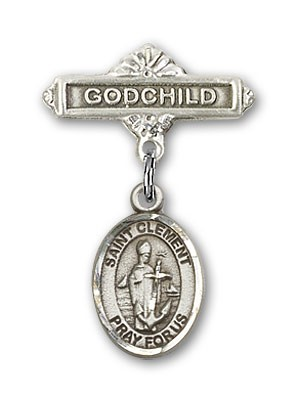 Pin Badge with St. Clement Charm and Godchild Badge Pin - Silver tone