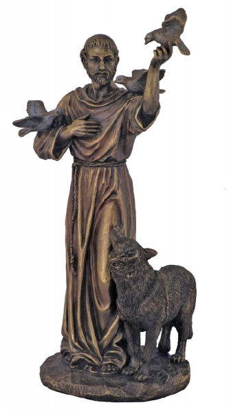 Bronzed Resin St. Francis with Animals Statue - 11 Inches - Bronze
