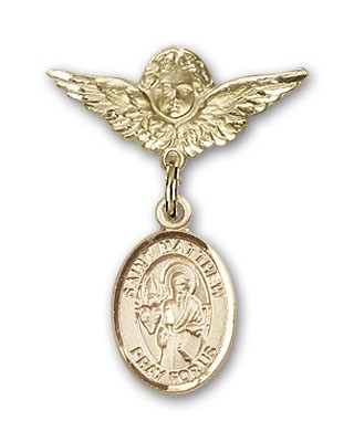 Pin Badge with St. Matthew the Apostle Charm and Angel with Smaller Wings Badge Pin - Gold Tone