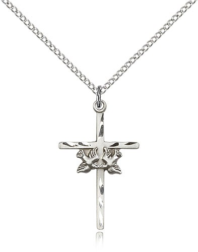 Doves and Cross Medal - Sterling Silver
