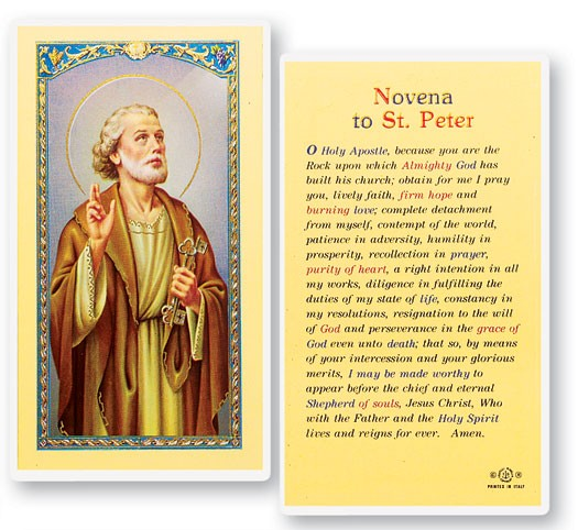 St. Peter Novena Laminated Prayer Cards 25 Pack - Full Color