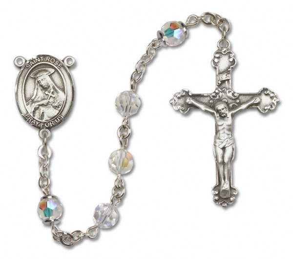 St. Rose of Lima Sterling Silver Heirloom Rosary Fancy Crucifix - Crystal