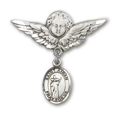 Pin Badge with St. Aidan of Lindesfarne Charm and Angel with Larger Wings Badge Pin - Silver tone