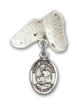 Pin Badge with St. John Licci Charm and Baby Boots Pin - Silver tone