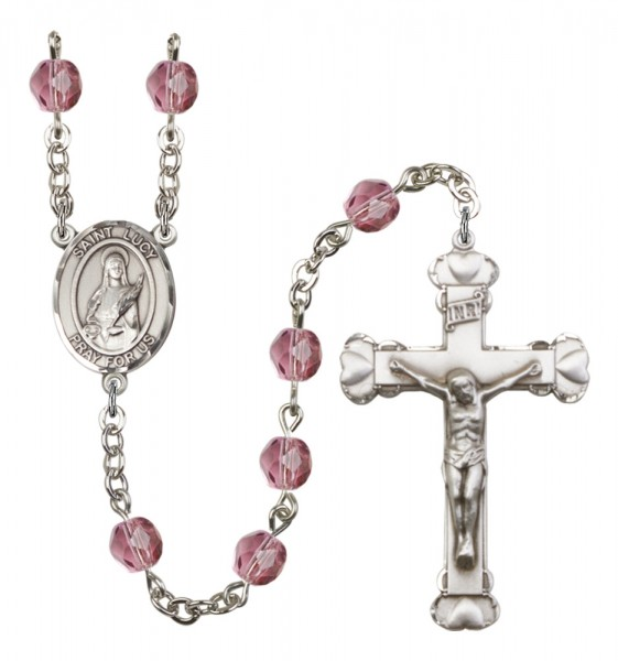 Women's St. Lucy Birthstone Rosary - Amethyst