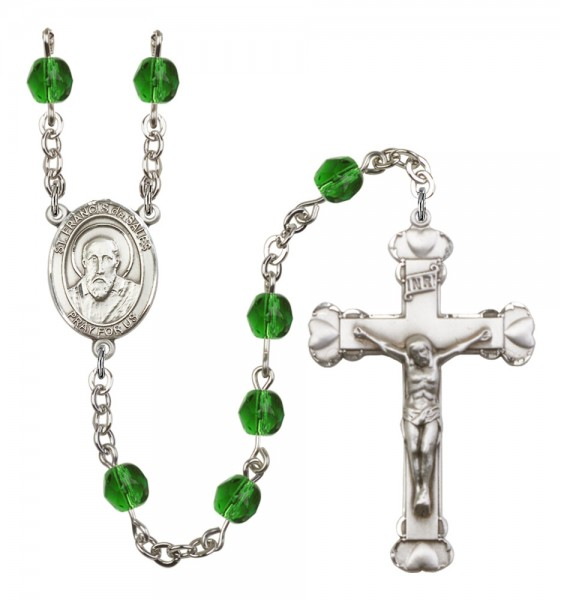 Women's St. Francis de Sales Birthstone Rosary - Emerald Green