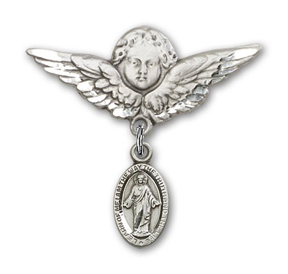Pin Badge with Scapular Charm and Angel with Larger Wings Badge Pin - Silver tone