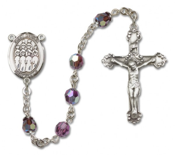 St. Cecilia with Choir Sterling Silver Heirloom Rosary Fancy Crucifix - Amethyst