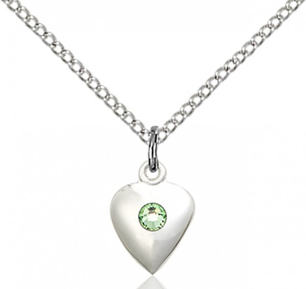 Baby Heart Pendant with Birthstone Options - Peridot
