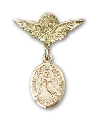 Pin Badge with St. Joseph of Cupertino Charm and Angel with Smaller Wings Badge Pin - Gold Tone