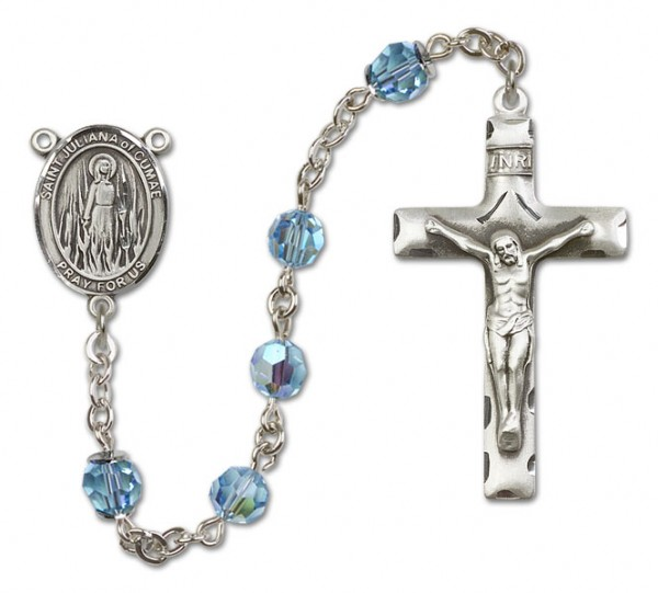 St. Juliana Sterling Silver Heirloom Rosary Squared Crucifix - Aqua