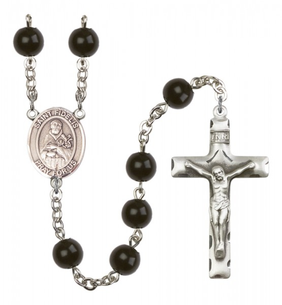 Men's St. Fidelis Silver Plated Rosary - Black