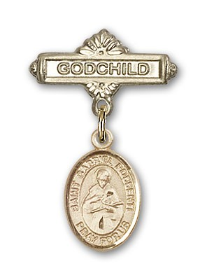 Pin Badge with St. Gabriel Possenti Charm and Godchild Badge Pin - 14K Solid Gold