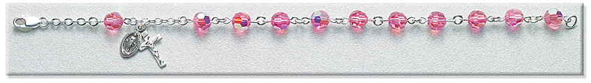 Rosary Bracelet - Sterling Silver with 7mm Pink Swarovski Beads - Pink