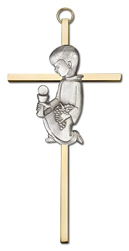 First Communion Boy Cross  6 inch - Two-Tone Gold