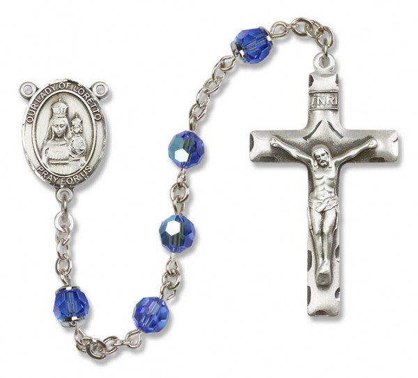Our Lady of Loretto Sterling Silver Heirloom Rosary Squared Crucifix - Sapphire