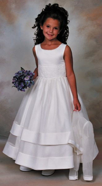 First Communion Dress Peau Satin and Organza with Jacket - White