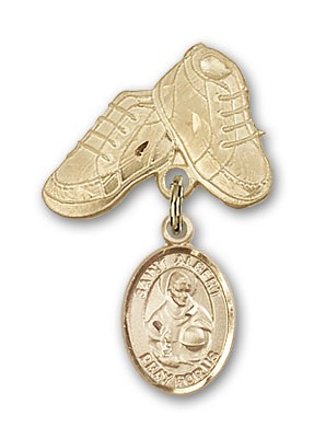 Pin Badge with St. Albert the Great Charm and Baby Boots Pin - 14K Solid Gold
