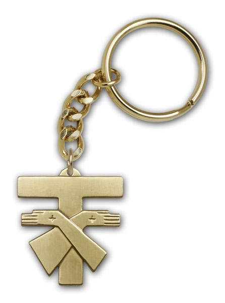 Franciscan Cross Keychain - Antique Gold