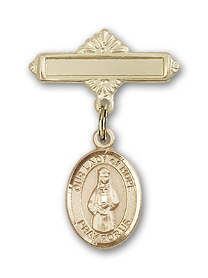 Pin Badge with Our Lady of Hope Charm and Polished Engravable Badge Pin - 14K Solid Gold