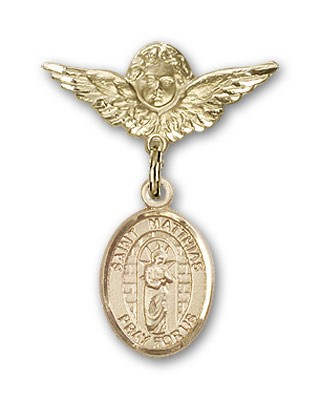 Pin Badge with St. Matthias the Apostle Charm and Angel with Smaller Wings Badge Pin - Gold Tone