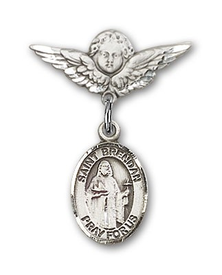 Pin Badge with St. Brendan the Navigator Charm and Angel with Smaller Wings Badge Pin - Silver tone