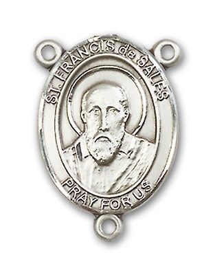 St. Francis De Sales Rosary Centerpiece Sterling Silver or Pewter - Sterling Silver