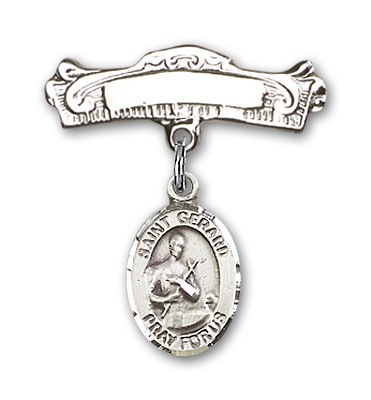Pin Badge with St. Gerard Charm and Arched Polished Engravable Badge Pin - Silver tone