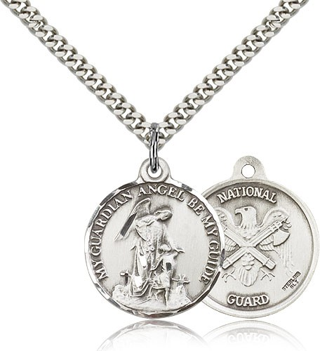 Guardian Angel National Guard Medal - Sterling Silver