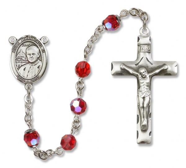 Pope John Paul II Sterling Silver Heirloom Rosary Squared Crucifix - Ruby Red