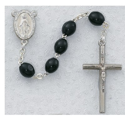 Black Wood Rosary - Black