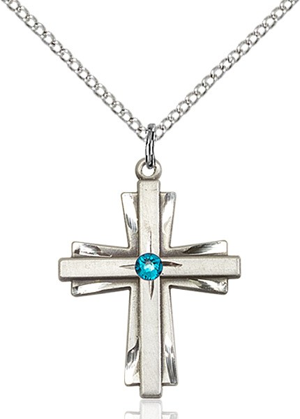 Women's Cross on Cross Pendant with Birthstone Options - Zircon