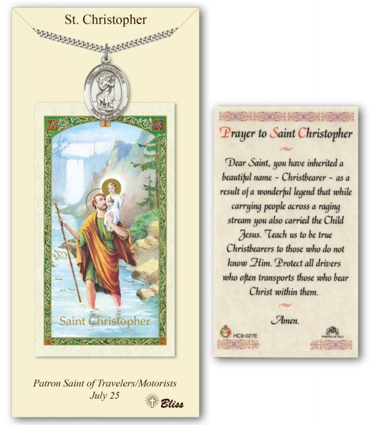 St. Christopher Medal in Pewter with Prayer Card - Silver tone