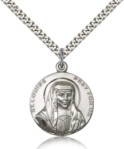 Men's Round St. Louise Medal - Sterling Silver