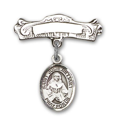 Pin Badge with St. Julie Billiart Charm and Arched Polished Engravable Badge Pin - Silver tone